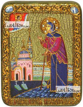 Ксения Петербургская (ростовая), икона подарочная на дубовой доске, 15х20 см