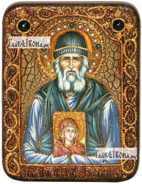 Паисий Святогорец, икона подарочная на дубовой доске, 15х20 см