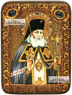 Лука Крымский, икона подарочная на дубовой доске, 15х20 см