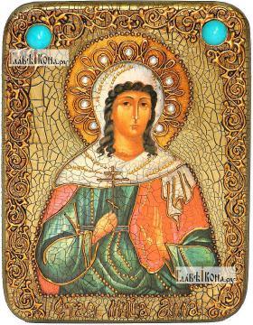 Алла мученица, икона подарочная на дубовой доске, 15х20 см