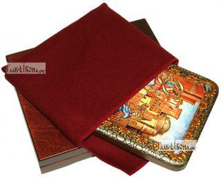 Благовещение Пресвятой Богородицы, икона подарочная на дубовой доске, 15х20 см - вид в комплекте