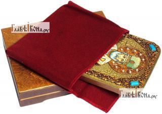 Николай Чудотворец (в митре), икона подарочная на дубовой доске, 15х20 см - вид в комплекте