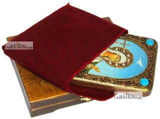 Иулия (Юлия) Карфагенская, икона подарочная на дубовой доске, 15х20 см - вид в комплекте