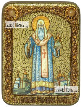 Алексий, митрополит Московский и всея России, икона подарочная на дубовой доске, 15х20 см