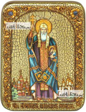 Ермоген, патриарх Московский и всея Руси, икона подарочная на дубовой доске, 15х20 см