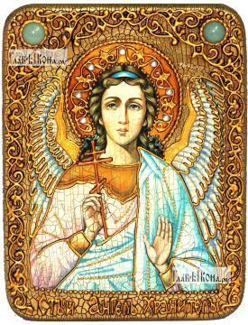 Ангел Хранитель (в живописном стиле), икона подарочная на дубовой доске, 15х20 см