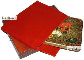 Георгий Победоносец великомученик, аналойная икона подарочная - вид с упаковкой