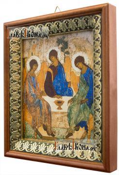 Троица Пресвятая, икона на холсте в киоте-рамке - вид сбоку