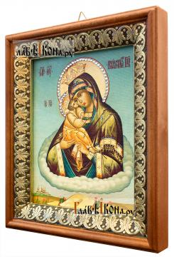 Почаевская Божия Матерь, икона на холсте в киоте-рамке - вид сбоку
