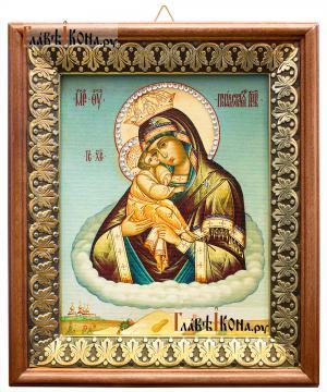 Почаевская Божия Матерь, икона на холсте в киоте-рамке