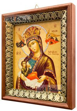 Млекопитательница Божия Матерь, икона на холсте в киоте-рамке - вид сбоку