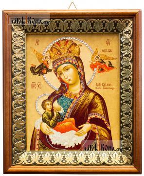 Млекопитательница Божия Матерь, икона на холсте в киоте-рамке