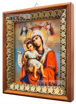 Достойно Есть Божия Матерь, икона на холсте в киоте-рамке - вид сбоку