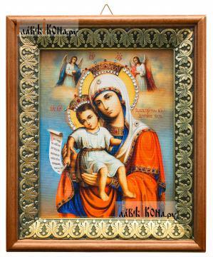 Достойно Есть Божия Матерь, икона на холсте в киоте-рамке