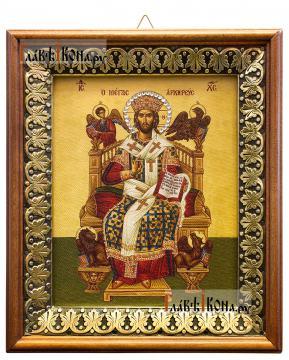 Спас Великий Архиерей, икона на холсте в киоте-рамке