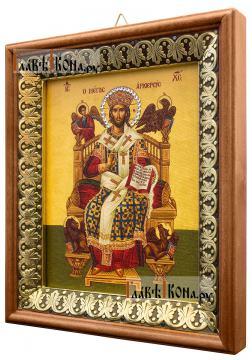 Спас Великий Архиерей, икона на холсте в киоте-рамке - вид сбоку