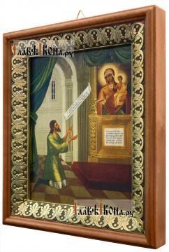 Нечаянная Радость Божия Матерь, икона на холсте в киоте-рамке - вид сбоку