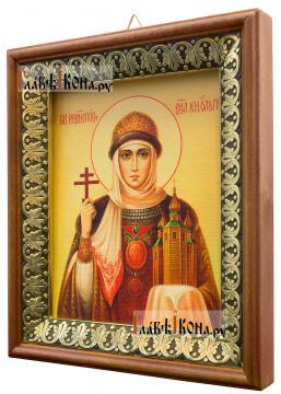 Ольга равноапостольная, икона на холсте в киоте-рамке - вид сбоку
