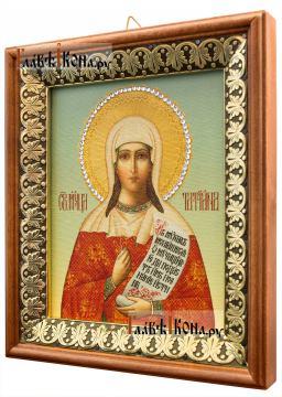 Татьяна мученица, икона на холсте в киоте-рамке - вид сбоку