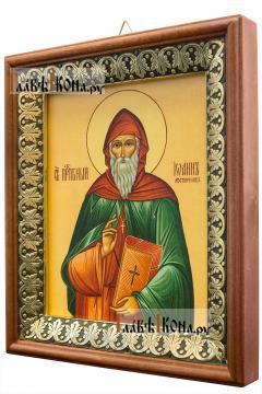 Иоанн Лествичник, икона на холсте в киоте-рамке - вид сбоку