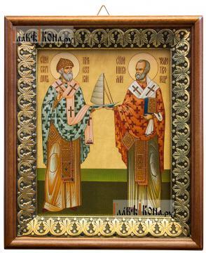 Спиридон Тримифунтский и Николай Чудотворец, икона на холсте в киоте-рамке
