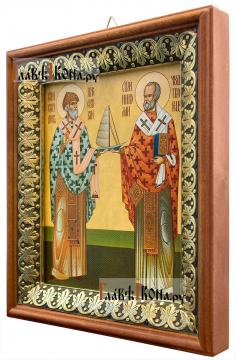 Спиридон Тримифунтский и Николай Чудотворец, икона на холсте в киоте-рамке - вид сбоку