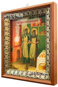 Спиридон и Никодим, просфорники Печерские, икона на холсте в киоте-рамке - вид сбоку