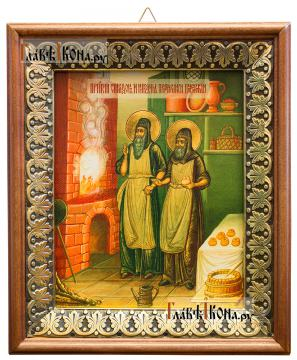 Спиридон и Никодим, просфорники Печерские, икона на холсте в киоте-рамке
