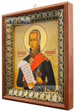 Федор Ушаков, праведный воин, икона на холсте в киоте-рамке - вид сбоку