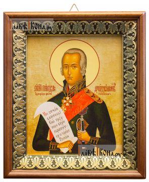 Федор Ушаков, праведный воин, икона на холсте в киоте-рамке
