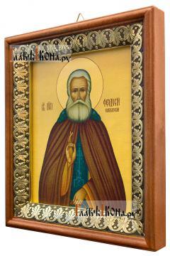 Феодосий Кавказский, икона на холсте в киоте-рамке - вид сбоку
