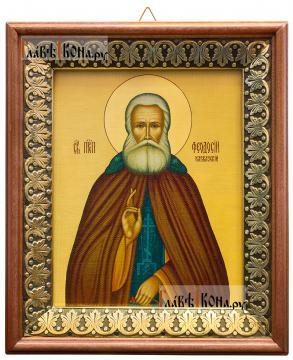 Феодосий Кавказский, икона на холсте в киоте-рамке