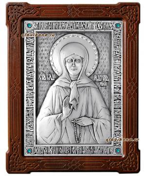 Блаженная Матрона Московская, серебряная икона со стразами, артикул 11146
