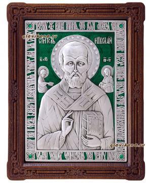 Серебряная икона святого Николая Чудотворца с эмалью, артикул 13147
