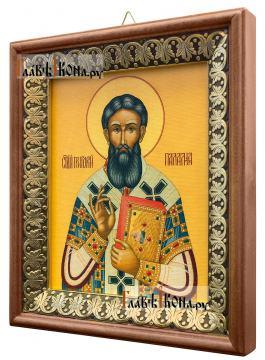 Григорий Палама, икона на холсте в киоте-рамке - вид сбоку