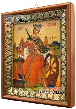 Великомученица Екатерина, икона на холсте в киоте-рамке - вид сбоку