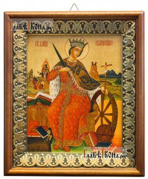 Великомученица Екатерина, икона на холсте в киоте-рамке