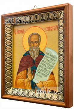 Александр Свирский, икона на холсте в киоте-рамке - вид сбоку