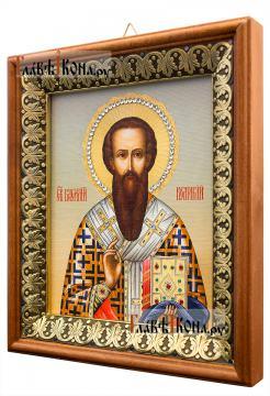 Василий Великий, икона на холсте в киоте-рамке - вид сбоку