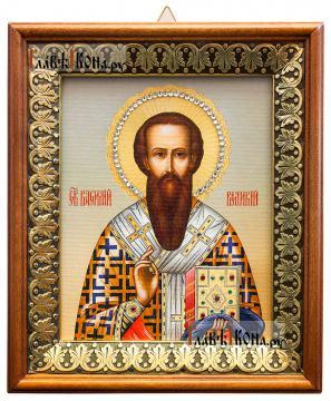 Василий Великий, икона на холсте в киоте-рамке