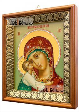 Игоревская Божия Матерь, икона на холсте в киоте-рамке - вид сбоку