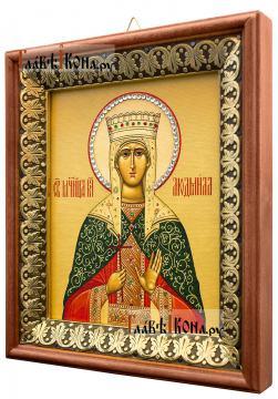 Людмила Мученица, икона на холсте в киоте-рамке - вид сбоку