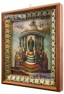 София - Премудрость Божия, икона на холсте в киоте-рамке - вид сбоку