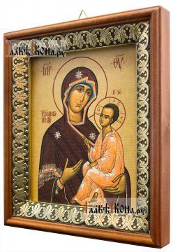 Тихвинская Божия Матерь, икона на холсте в киоте-рамке - вид сбоку