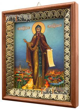 Антоний Печерский, икона на холсте в киоте-рамке - вид сбоку