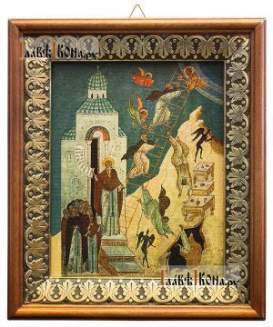 Лествица Иоанна Лествичника, икона на холсте в киоте-рамке
