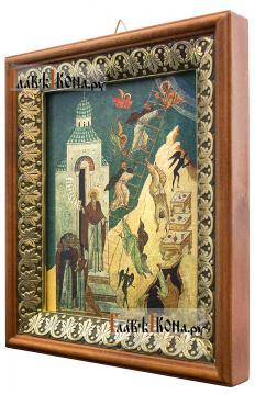 Лествица Иоанна Лествичника, икона на холсте в киоте-рамке - вид сбоку