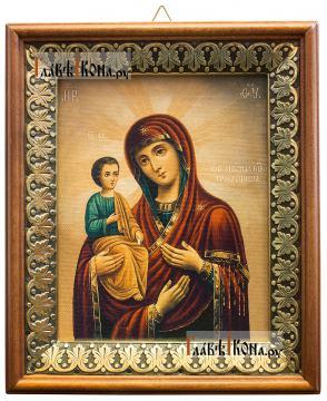 Троеручица Божия Матерь, икона на холсте в киоте-рамке