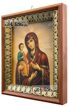 Троеручица Божия Матерь, икона на холсте в киоте-рамке - вид сбоку