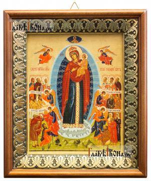 Всех Скорбящих радость (Харбинская), икона на холсте в киоте-рамке